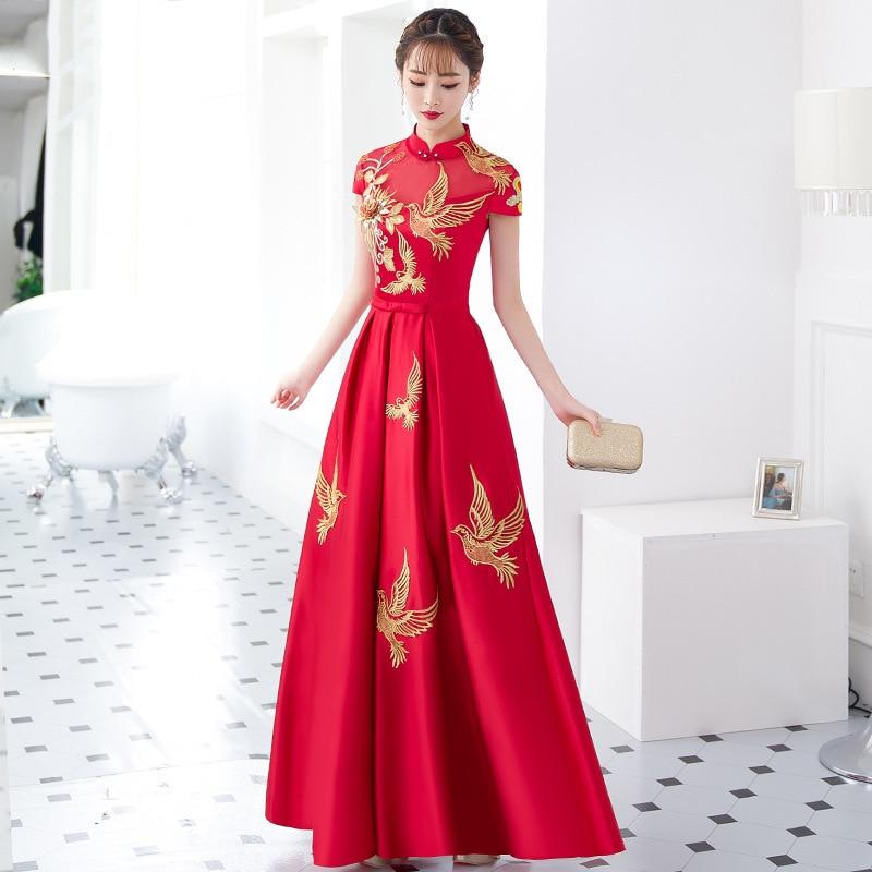 Broderie traditionnelle mariée rouge Cheongsam chine Qipao robe de mariée orientale robe de soirée longue chinoise nouvel an Costume Qi Pao
