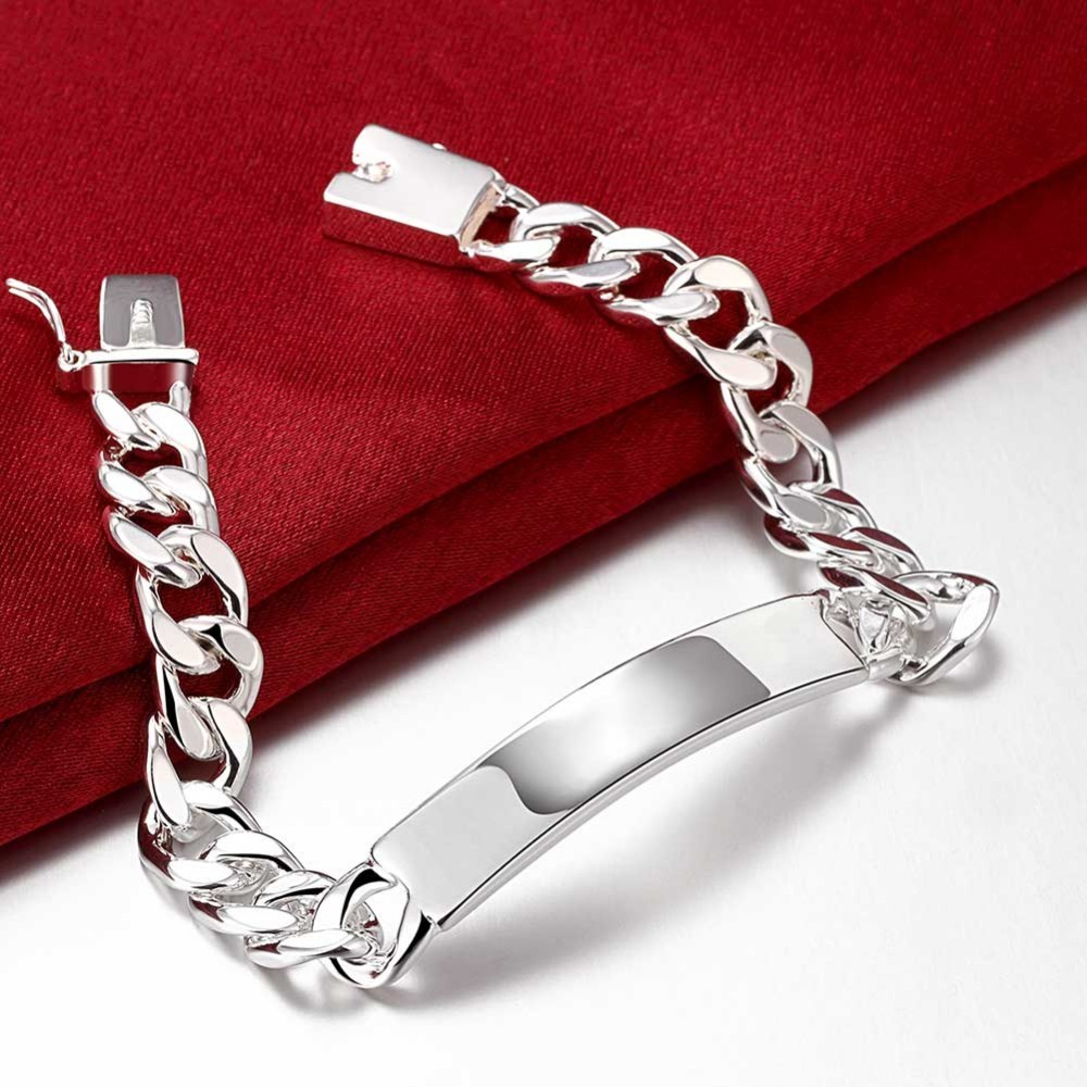 2018 Men's Jewelery 925 Printed Sterling Silver 10mm Chain 20cm Bracelet Del Plata H246 Gift Box Free Shipping