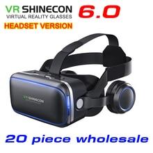 20 peça no atacado Originais VR shinecon 6.0 versão fone de ouvido headset óculos de realidade virtual óculos 3D capacetes VR CAIXA de papelão