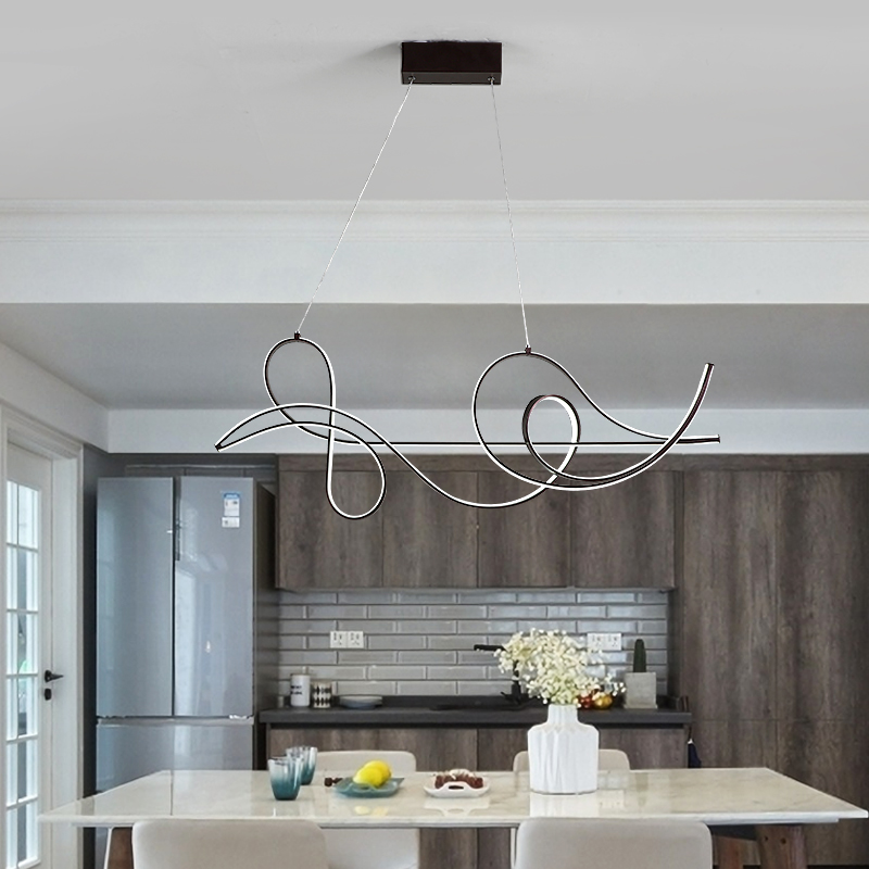 Image 4 - Coffee Finish Hanging lamp Modern Led Chandelier For bed Dining room kitchen suspension luminaire Pendant Chandelier Fixture-in Chandeliers from Lights & Lighting