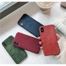 Бархат для Iphone 6 6s 7 8 P X Xs Xr Max Плюшевые Ткань Падение Чехол для телефона