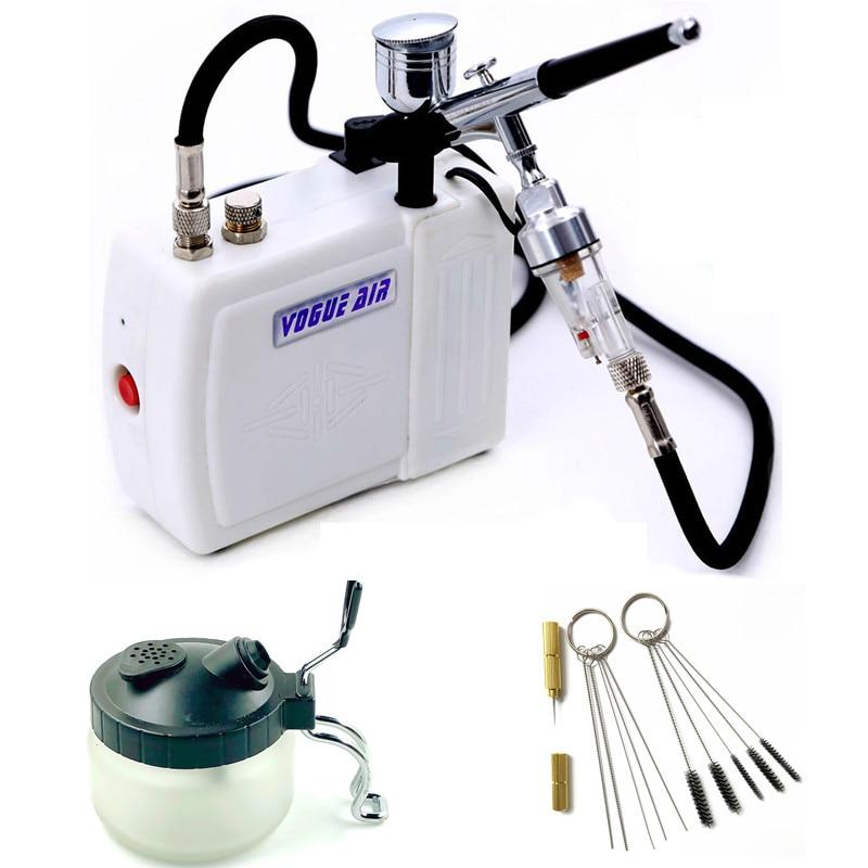 Airbrush Kit with Mini Air Compressor Air brush Spray Gun for Makeup Body Paint Temporary Tattoo gun 1 set Free Shipping mini compresor de pintura
