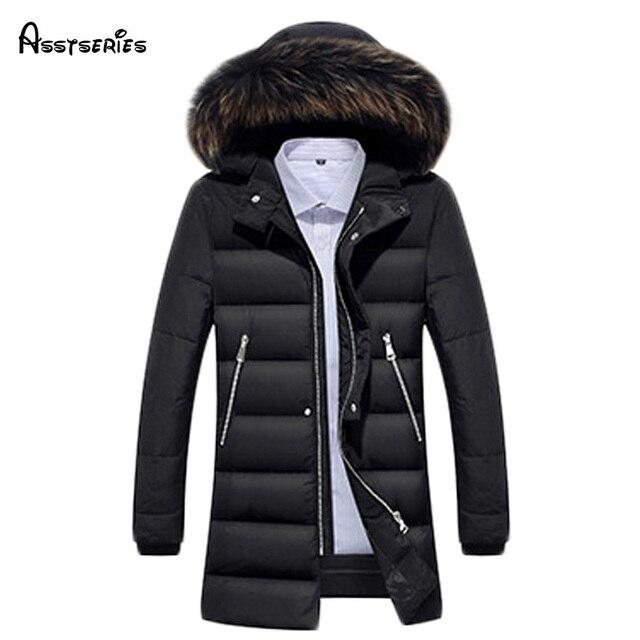de17673264 Free shipping Men s Down Jacket Fur Collar Coat 2018 Stylish Winter Jacket  Men Long Waterproof Parka Down Coat For Man 200hfx