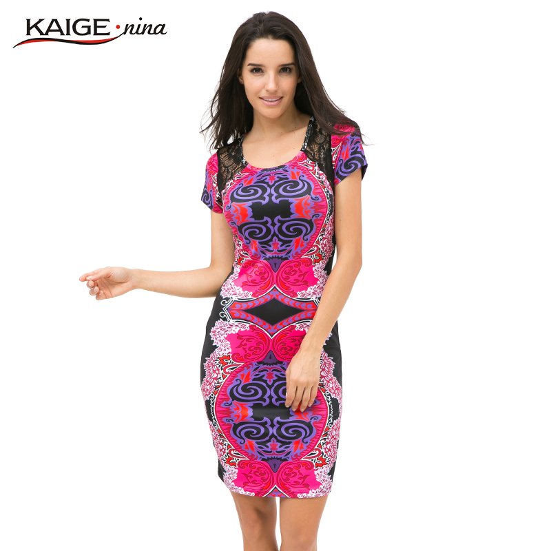 Kaige.Nina Autumn Sexy O-Neck Lace Dress Wanita Vestidos Kasual lutut-panjang Pakaian Pendek Sleeve Cetak Plus Saiz Slim Dress 2409