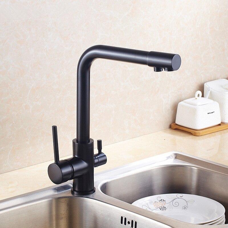 Three Way Sink Mixer 3 way water filter tap Black Painted ...