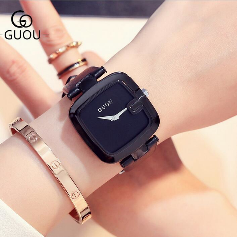 GUOU Brand Genuine Leather Women's Watches Fashion Simple Ladies Watch Women Watches Clock saat relogio feminino reloj mujer guou top brand women s watches bracelet ladies watch calendar saat square dial leather strap clock women montre relogio feminino