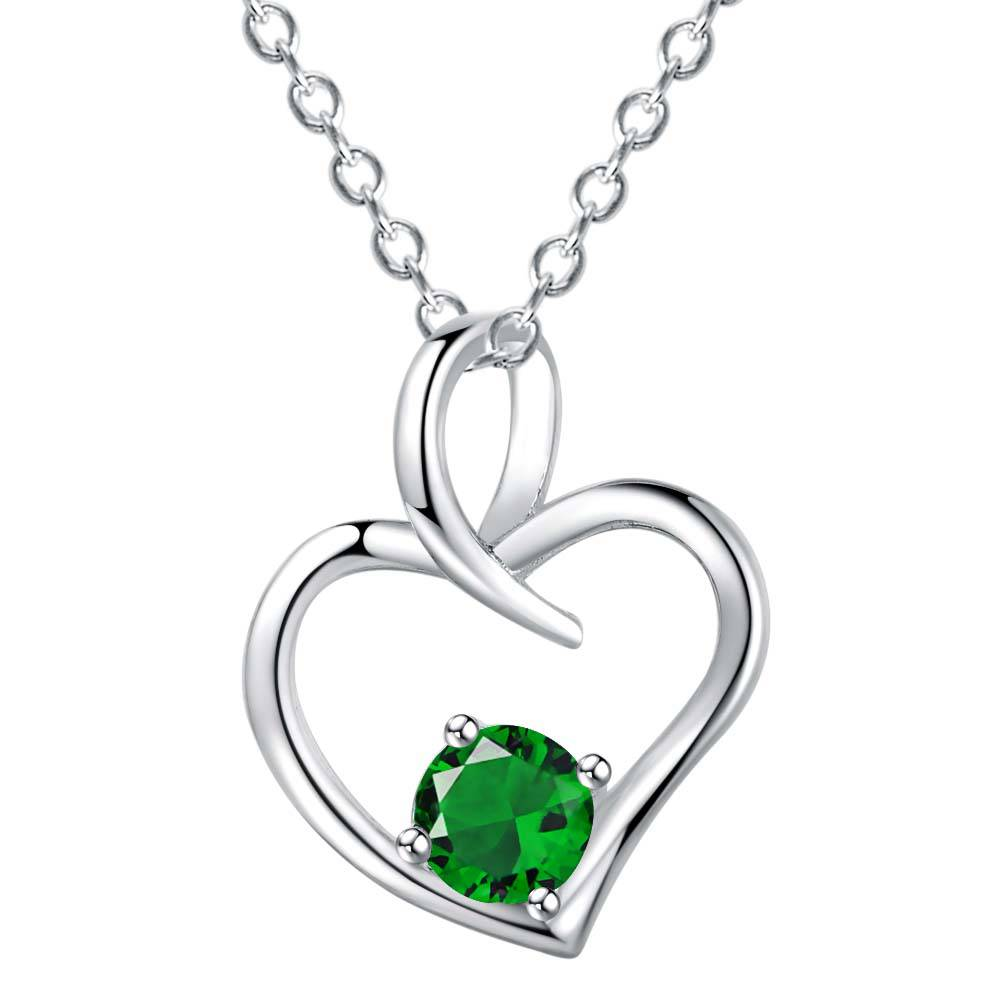 Wholesale silver plated charm jewelrys Necklace,free shipping 925 fashion jewelry pendant heart inlaid green stone AN1010