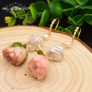 Image 4 - GLSEEVO naturalne słodkowodne barokowe perły spadek kolczyki dla kobiet Party naprawdę kwiat Handmade luksusowa romantyczna biżuteria GE0492