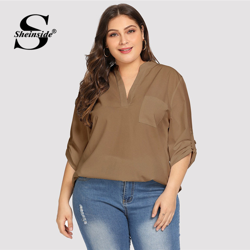 Sheinside Plus Size Tops V Neck Solid Dip Hem Chiffon Women   Blouse     Shirt   Long Sleeve Top Coffee Khaki Womens   Blouses   &   Shirts