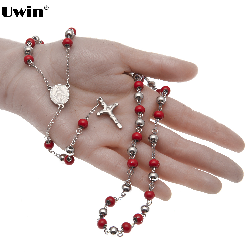 Aliexpress.com : Buy Stainless Steel Chain Gold Color Rosary Red ...