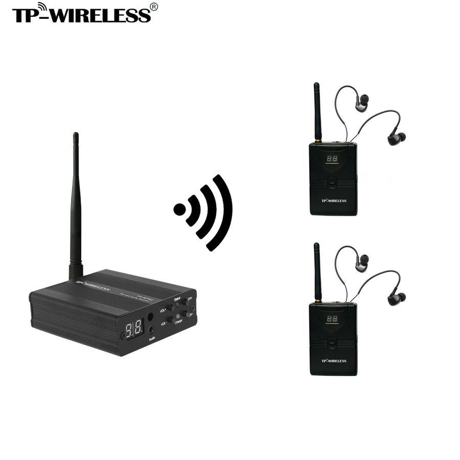 TP-WIRELESS Wireless Recording studio Monitor System In-Ear stage Monitor 2 sets ( 1 Transmitter & 2 Receivers ) Hot selling wireless