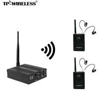 TP-WIRELESS Sistema Monitor de estudio de Grabación Inalámbrico In-Ear Monitor de escenario 2 sets (1 Transmisor y 2 Receptores) venta Caliente