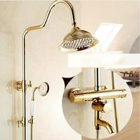 Shower Faucet Thermostatic Shower Faucet Set Gold Bathroom Rainfall Shower Set With Mixer Tap Wall Mounted Dual Handle