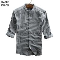SMART SUGAR Summer Shirt Men Half Sleeve 2017 New Arrival Hot Solid Breathable Soft Japanese Style