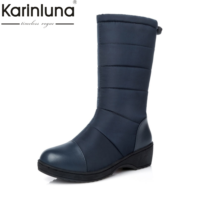 KARINLUNA Women Half-knee Snow Boots Rubber Sole Round Toe Platform Warm Fur Shoes Winter Ladies Footwear Bootas Mujer doratasia big size 34 43 women half knee high boots vintage flat heels warm winter fur shoes round toe platform snow boots