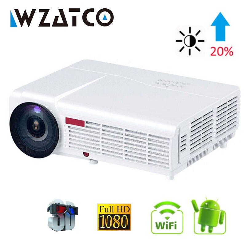 WZATCO LED 96 W 3D projecteur LED 5500 Lumen Android 9.0 Smart Wifi full HD 1080 P support 4 k vidéo en ligne projecteur Proyector pour la maison