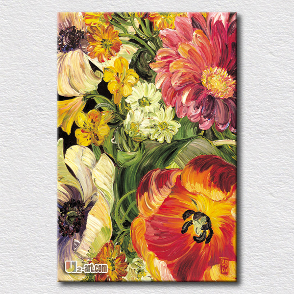 Wall art oil painting reproduction picture of big colourful flowers ...