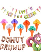 Donut Growup Themed Party Decorations Doughnut Ice Cream Foil Latex Balloons Baby Birthday Decor Supplies