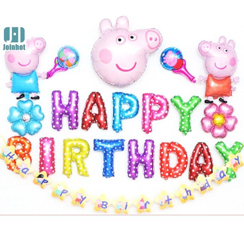 casamento peiqi cerdo feliz cumpleaos carta de papel de aluminio globos de helio decoracin del partido