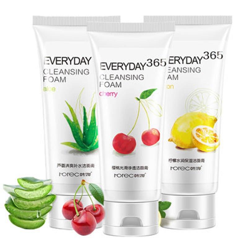 Hanchan Lemon Cherry Aloe Moisturizer Foam Cleanser Remover Oil Control  Deep Clean Pores Blackhead Acnes Skin Care 120g