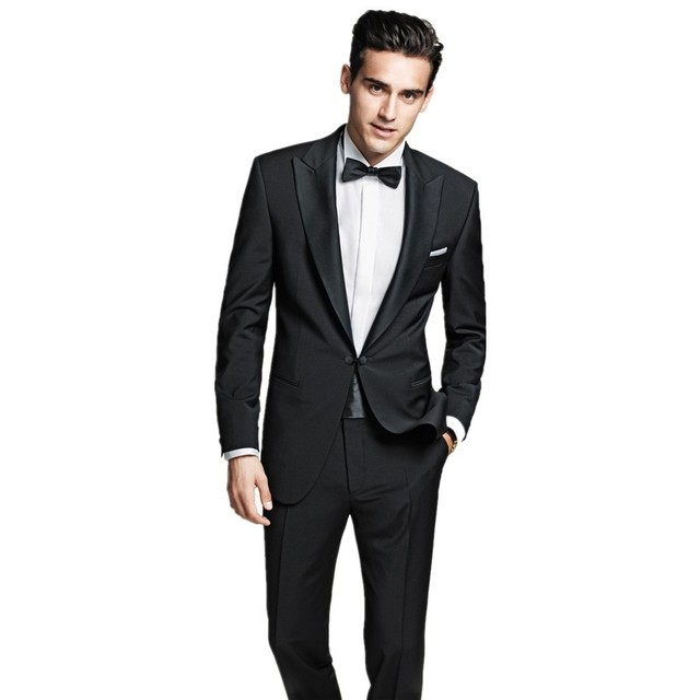 a70c8f8a711 2016 black Slim Prom groom suit No Risk Shopping Fashion Tuxedos Gentleman  Gun collar wedding suit
