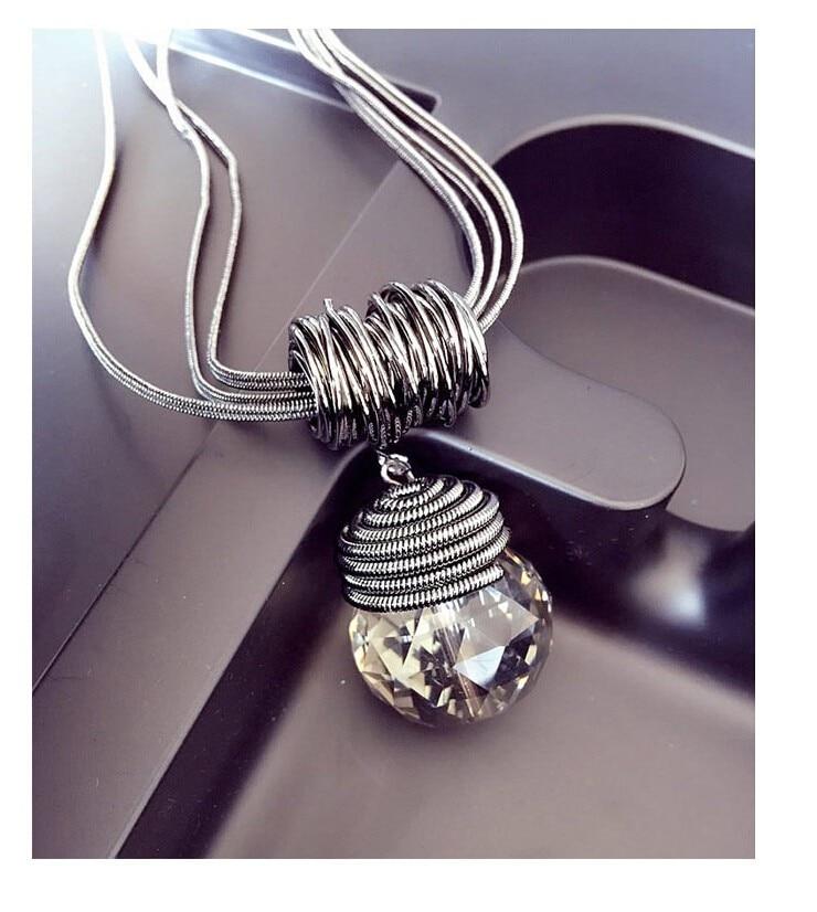 184cbc640376 Meyfflin largo collar de cristal de las mujeres collar de la joyería ...