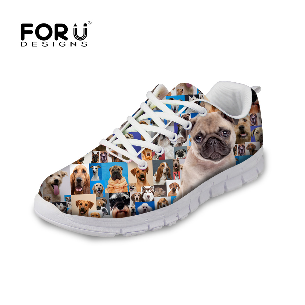 FORUDESIGNS Cute Animal Puzzle Pug Dog Pattern Casual Flats Shoes Woman Spring Lace-up Flats Shoes for Ladies Teenage Student