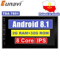 Eunavi 2 Din 7 ''Android 8,1 универсальный автомобильный Радио двойной стерео gps навигация в тире ПК видео wifi USB 2din BT