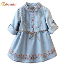 Babyinstar Autumn Kids One-Piece Dress Kids Casual Dress for Girls 2017 New Flower Embroidery ChildrenTunic Girls Denim Dresses