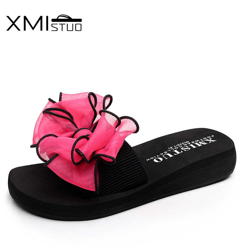 66a9e5c55 XMISTUO Brand Women cool Non-slip Slippers Elastic word with colorful bow  flat outdoor comfortable