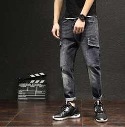 29-42 2019 японские Модные шаровары Повседневные джинсы мужские большие размеры Свободные ноги мужские брюки плюс размер певица костюмы