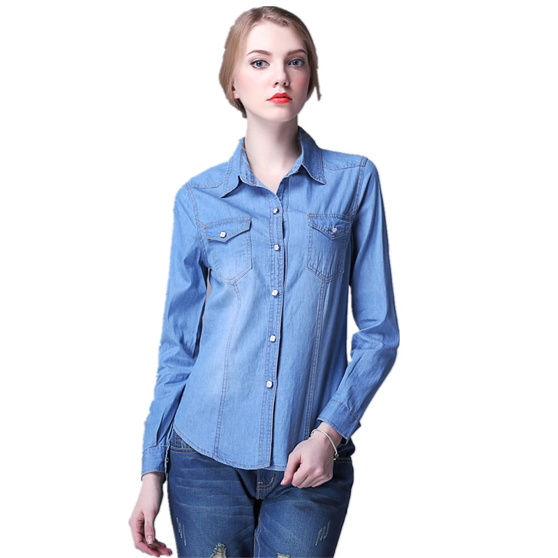 Nueva moda Denim camisa mujeres blusa manga larga camisa