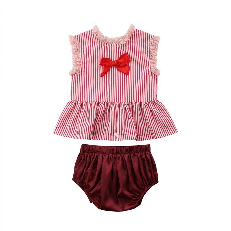 2PCS Set Toddler Kids Baby Girls Outfits Clothes Lace T-Shirt+Stripe Shorts Set