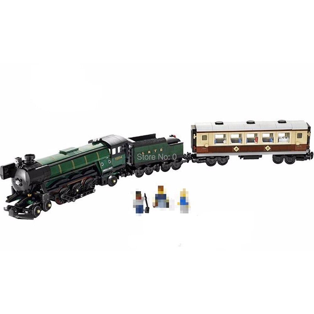 1085 sztuk seria technic szmaragdowy noc pociąg z led light building block 10194 cegły zabawki w Klocki od Zabawki i hobby na  Grupa 1