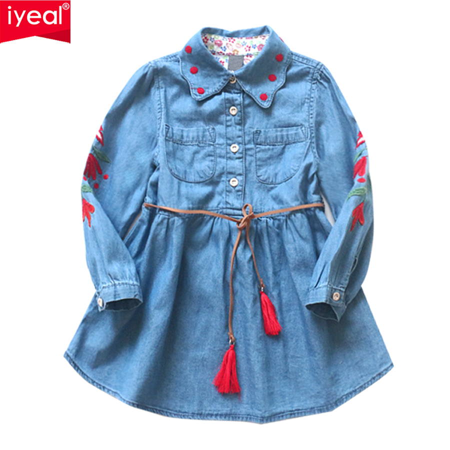 lYEAL Girls Denim Dress 2018 Spring Children Clothing Casual Style Kid Girl Clothes Flower Embroidery Dresses With Belt for 3-8T kid girls sweater lace dress 2018 spring