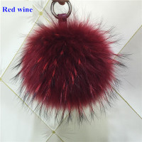 Free Shipping Raccoon Fur Pompom High Quality Car Keychain Bag Pendant Leather Cord Metal Key Ring