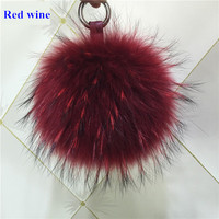 15 cm thời trang Luxury Fluffy Bất Raccoon Fur Bóng Pom Poms Sang Trọng kích thước Chính Hãng Lông Key Chain Keychain Kim Loại Nhẫn Mặt Dây Chuyền Túi Quyến Rũ