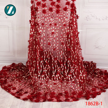 African Lace Fabric 2018 High Quality Grace Red Tulle Lace Fabric Nigerian Embroidered 3d Applique For Wonam  Wedding XZ1862B-1