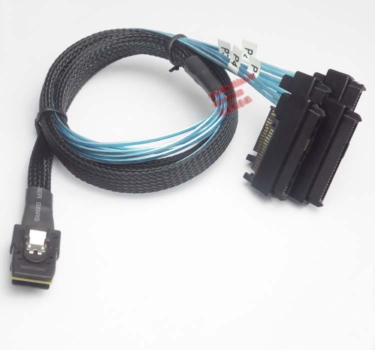100cm Internal 36 Pin Mini SAS SFF-8087 Host to 4 SFF-8482 Target SAS Hard Disk and SATA Power Cable internal mini sas sff 8087 to mini sas