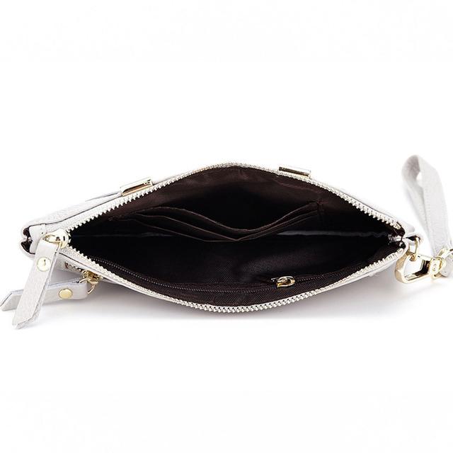 2017 Genuine Cow Leather Women Clutch Bags Cowhide Envelope Organizer Purse Evening Party Handbags Ladies Small Wristlet Purses
