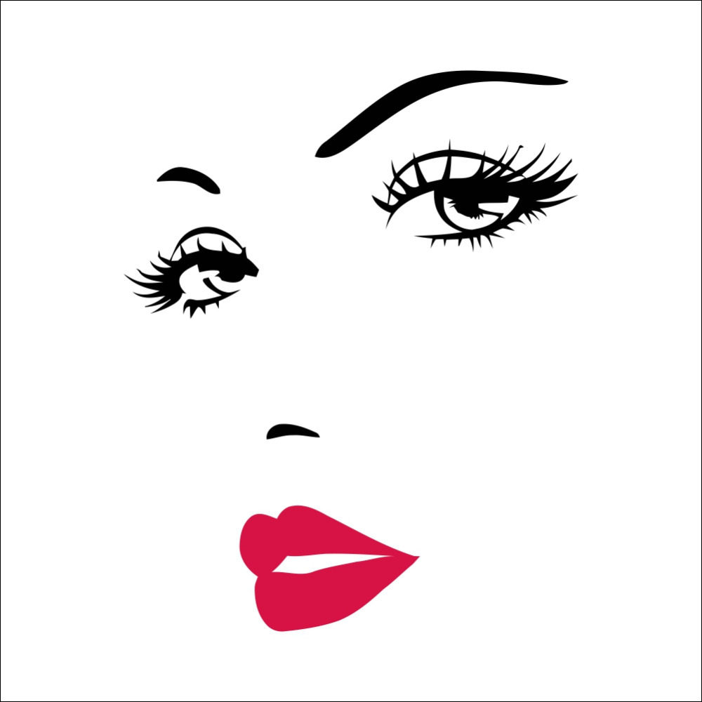 Hot Pink Lips Quotes Salon Girl Face Wall Stickers Vinyl Living Room