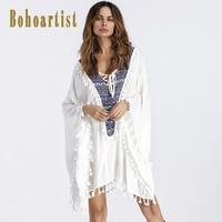 Bohoartist Bohemian Casual Dresses Patchwork White Tassel Beach Holiday Style Female Boho Clothing Women Shirt Dresses