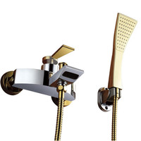 New Arrival Patent Design Luxurious Golden Shower Faucet Wall Mount Bath Taps