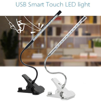 Adjustable USB Reading LED Touch Dimmable Flexible Solid Clip Desk Lamp Light FEN