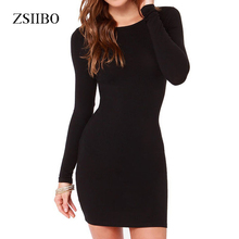 New 2018 Women Summer Autumn Sexy Casual dress Fashion elegent Black Dress Vestidos Long Sleeve Dress Plus Size Women Clothing(China)