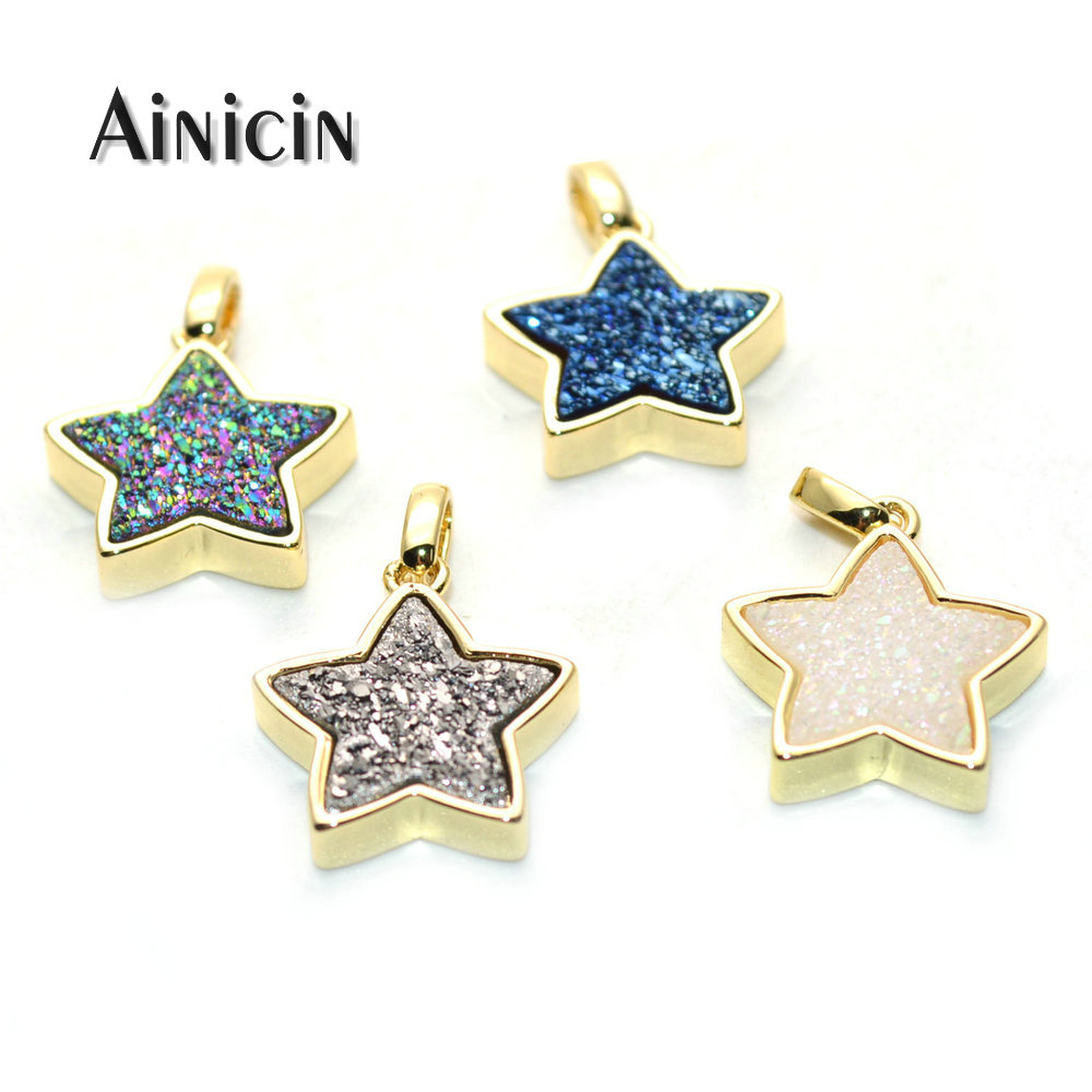 Natural Druzy Crystal 15mm Star Pendants Blue Rainbow Silver Star Charms For Fashion Women Jewelry Making