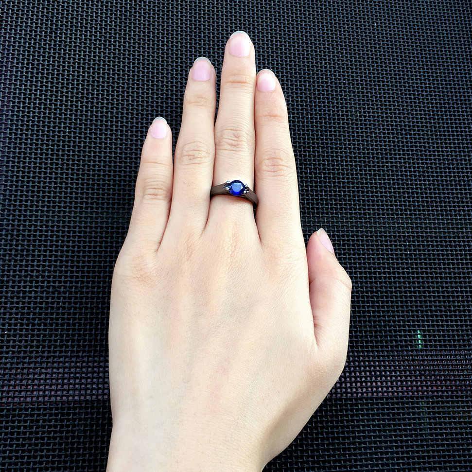 CZ หินโรแมนติกคริสตัล 6mm สีดำสีทองแหวนแฟชั่น Cubic Zirconia เครื่องประดับสำหรับผู้หญิง DWR621