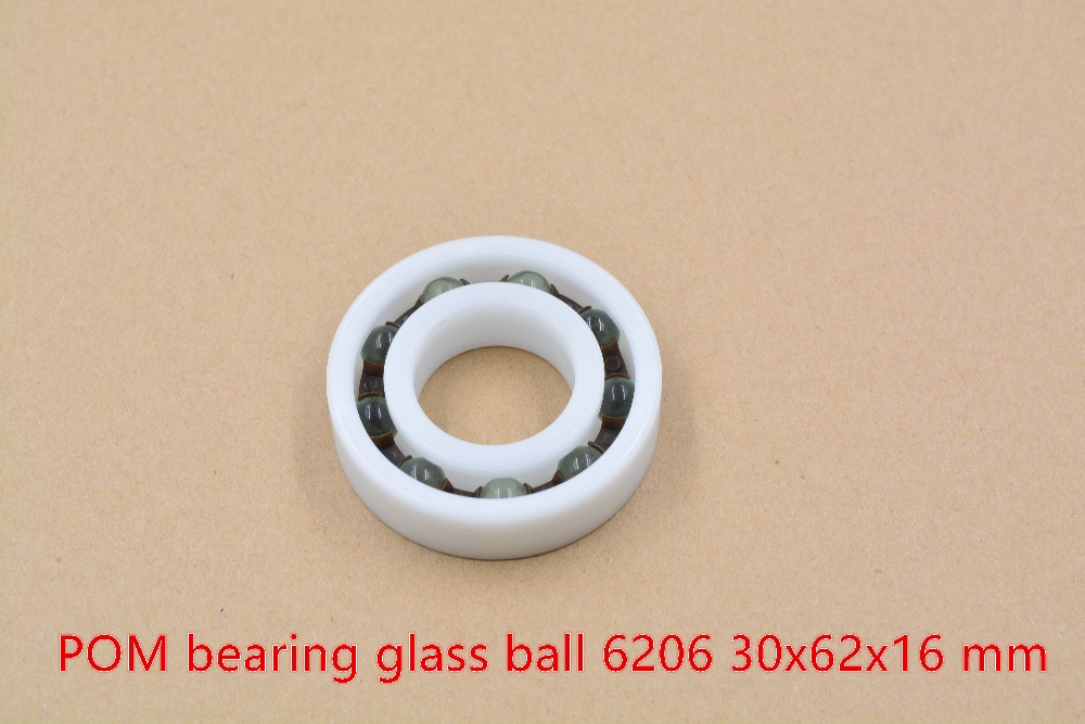 POM plastic 30mmx62mmx16mm nylon bearing 30mm bearing glass ball water proof acid and alkali resistant single seal 6206 1pcs