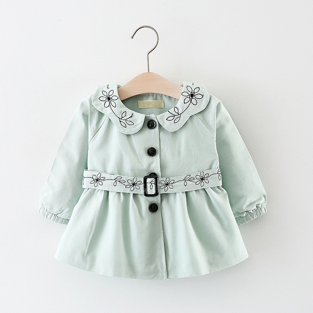 7cba82e3e 2018 Baby Girl Casual Trench Coat Girl Embroidery Floral Trench Coat ...