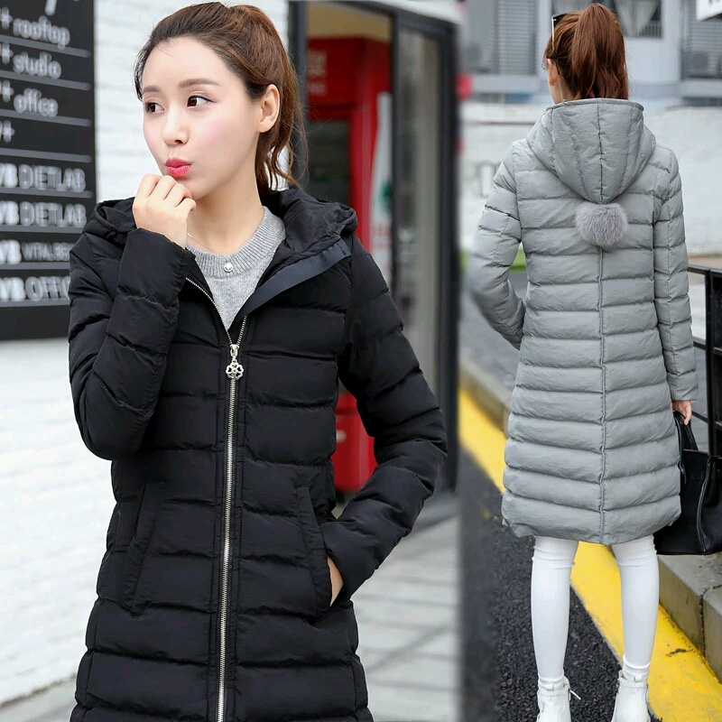 In the long winter 2016 Korean female cotton padded slim slim down size hooded cotton padded